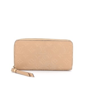 Louis Vuitton Zippy Wallet Leather Monogram Beige Clutch