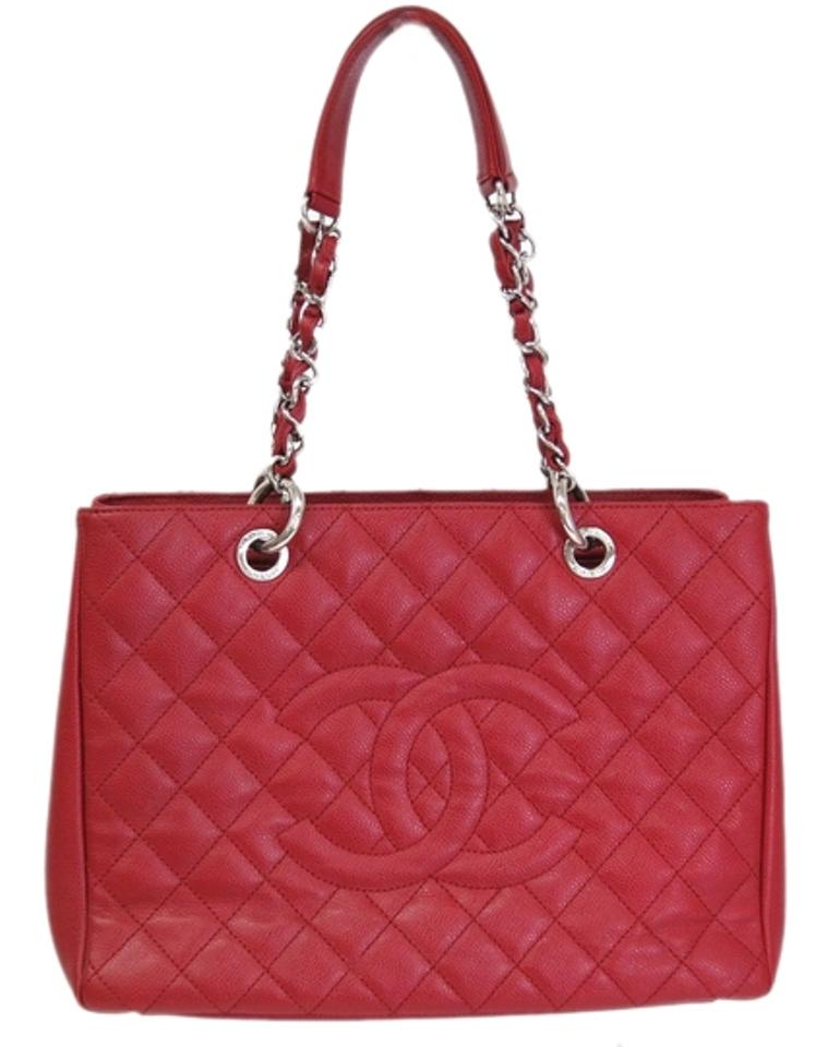 chanel chanel grand shopping tote bag caviar skin red chanel totes tradesy. Black Bedroom Furniture Sets. Home Design Ideas