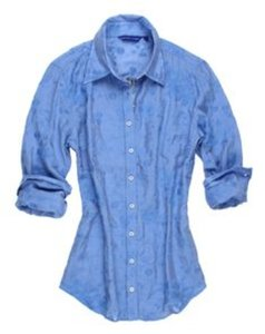 Georg Roth Los Angeles Embellished Floral Button Down Shirt Blue
