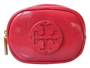 Tory Burch Travel Cosmetic Case Make-up Patent Leater coral Travel Bag