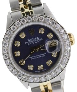 Rolex Ladies Datejust with Blue Dial Diamond Watch