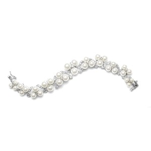 Mariell Luxe Pearls & Brilliant Crystals Bridal Bracelet