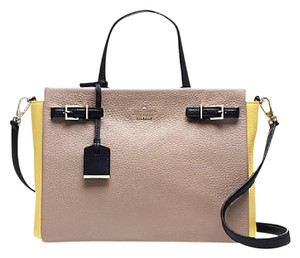 Kate Spade Leather Lanie Satchel in YELLOW/BLACK/GREY