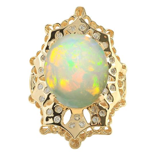 Preload https://img-static.tradesy.com/item/21243927/multicolor-892-carat-natural-opal-14k-yellow-gold-diamond-ring-0-0-540-540.jpg