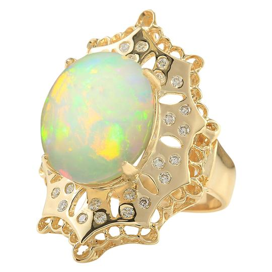 Fashion Strada 8.92 Carat Natural Opal 14K Yellow Gold Diamond Ring
