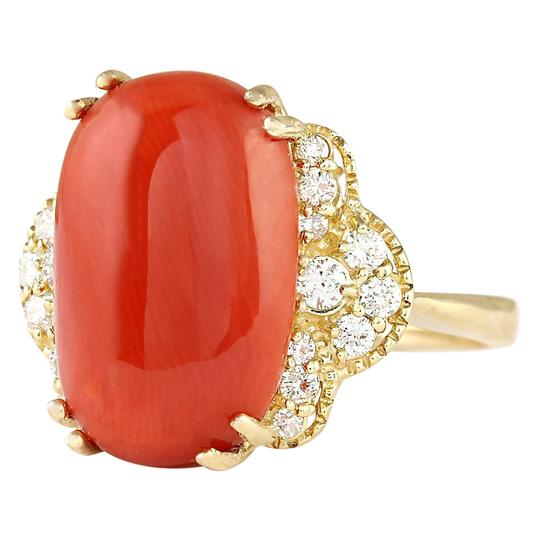 Fashion Strada 9.33 CTW Natural Coral And Diamond Ring In 14k Yellow Gold