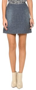 theyskens' theory New With Tags Brushed Chambray A-line Pockets Skirt Blue