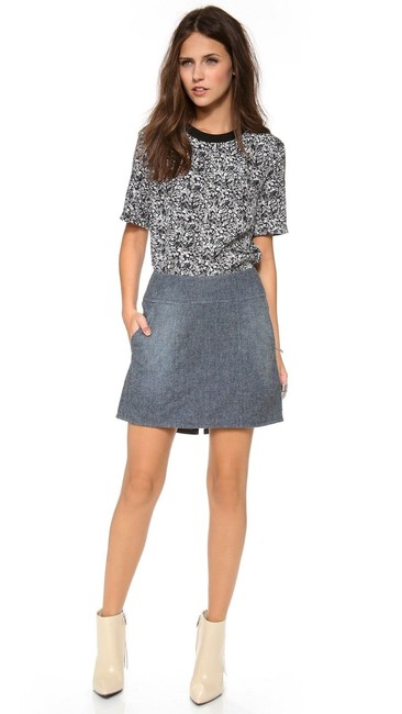 Theory New With Tags Brushed Chambray A-line Pockets Skirt Blue