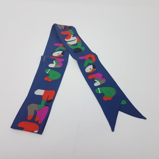 Fendi Navy, red multicolor Fendi monogram print silk ascot