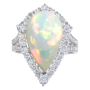 Fashion Strada 7.13CTW Natural Opal And Diamond Ring In 14K White Gold
