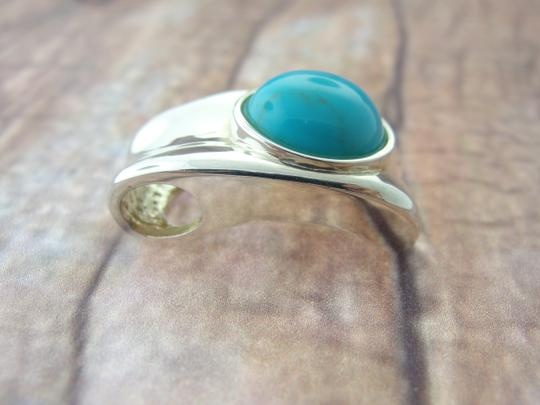 Other Curved Turquoise Necklace Pendant- Sterling Silver