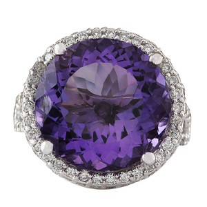 Fashion Strada 13.81 Carat Natural Amethyst 14K White Gold Diamond Ring