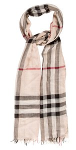 Burberry Beige, black multicolor Burberry Nova Check print silk wool scarf