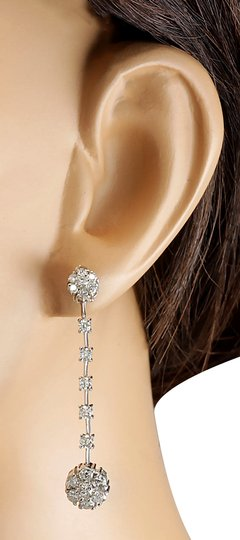 Fashion Strada 2.10 Carat Natural Diamond 14K White Gold Earrings