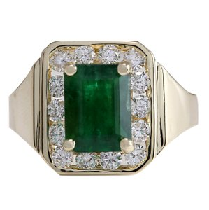 Fashion Strada 3.16CTW Natural Emerald And Diamond Ring 14K Solid Yellow Gold