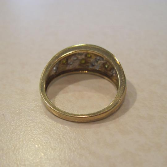Other 0.70 CTw RD Yellow and White Diamond Stripped Ring, 10 KT WG, Size 7