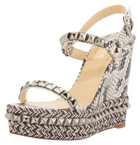 Christian Louboutin Wedge Cataclou Studded Watersnake Grey Platforms