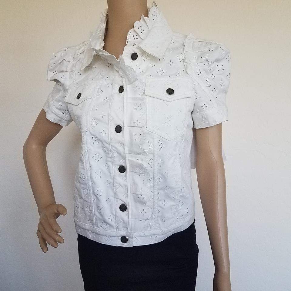 Louis Vuitton White Lv Monogram Denim Jacket Button-down Top Size ...