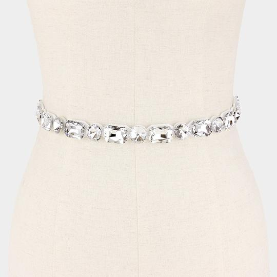 Silver Ribbon Dress Belt Rhinestone Crystal Sash
