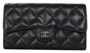 Chanel Chanel Black Caviar Leather Long Flap Wallet