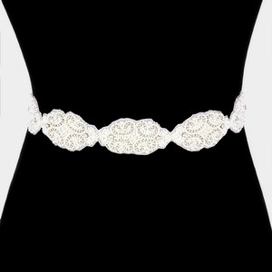 White Pearl Embellished Rhinestone Ribbon Belt Sash