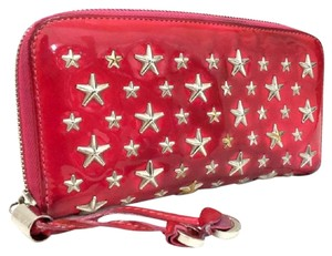 Jimmy Choo Jimmy Choo Nellie Star Studded Pink Patent Leather Zip Long Wallet