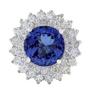 Fashion Strada 4.88CTW Natural Tanzanite And Diamond Ring In 14K White Gold