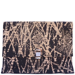 Proenza Schouler Leather Printed Black Clutch