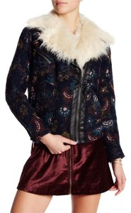 Free People $175 Obo **free Shipping ** Nwt Size L Jacquard Wool Faux Fur Trim Jacket