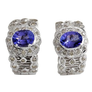 Fashion Strada 4.20 Carat Natural Tanzanite 14K White Gold Diamond Earrings