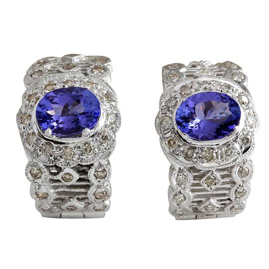 Preload https://img-static.tradesy.com/item/21244413/blue-420-carat-natural-tanzanite-14k-white-gold-diamond-earrings-0-0-540-540.jpg