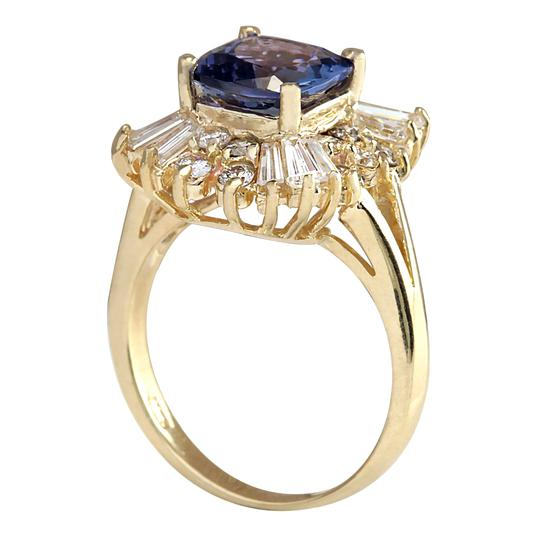 Fashion Strada 3.44 Carat Natural Tanzanite 14K Yellow Gold Diamond Ring