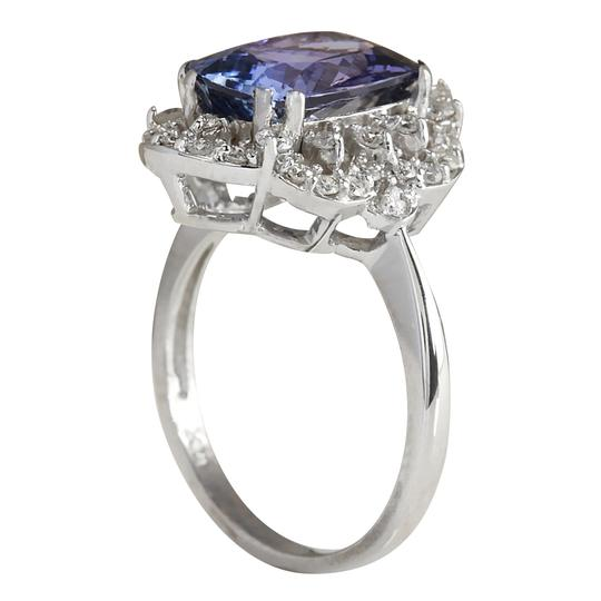 Fashion Strada 4.75 Carat Natural Tanzanite 14K White Gold Diamond Ring