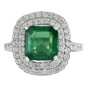 Fashion Strada 3.62CTW Natural Emerald And Diamond Ring In 14K White Gold
