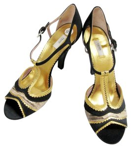 Prada Strappy Satin Gold Python New Black/ gold Sandals