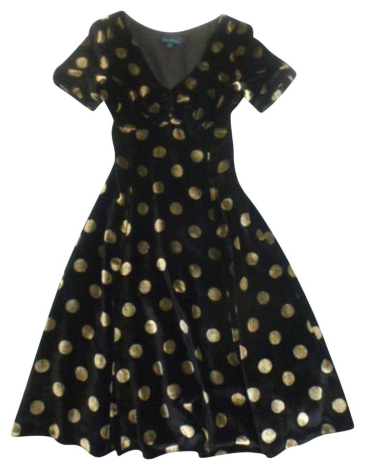 Boden Black Gold Polka Dot Puff Slv Silk Velvet Velour Tea Party Mid