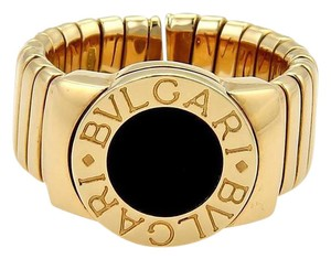BVLGARI Bulgari Tubogas 18K Yellow Gold & Onyx 9mm Wide Band Ring Size 6.5