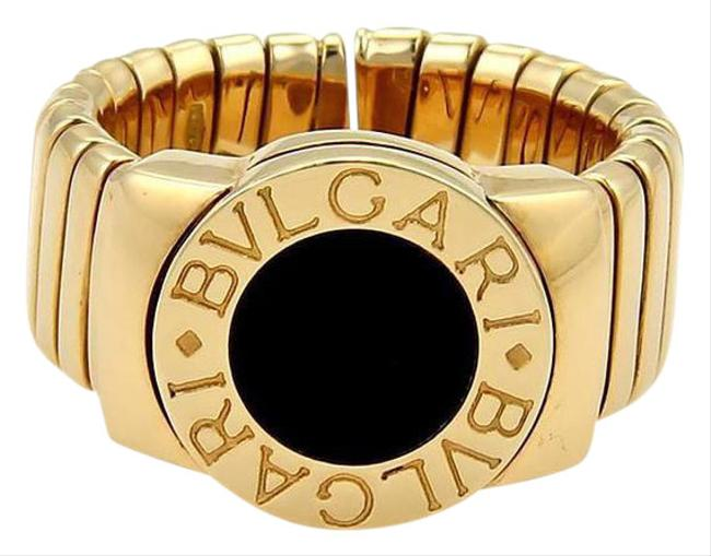 Item - Yellow Gold & Black Onyx Tubogas 18k 9mm Wide Band Size 6.5 Ring
