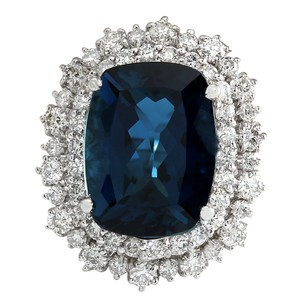 Fashion Strada 14.02Ct Natural London Blue Topaz And Diamond Ring In14K Solid White G