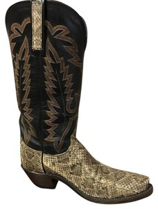 Lucchese Rattlesnake Leather Stitching Black Boots