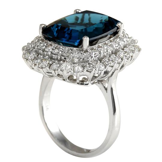 Fashion Strada 14.32 Carat Natural Topaz 14K White Gold Diamond Ring