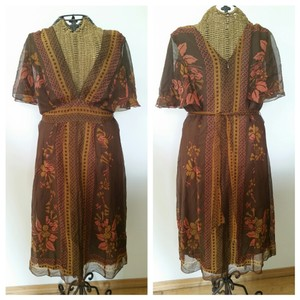 277a9d14d756e Anthropologie Brown Anna Sui Kimono Mid-length Short Casual Dress ...