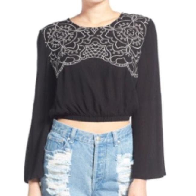 MINKPINK Boho Embroidery Bell Sleeve 70s Crop Top Black