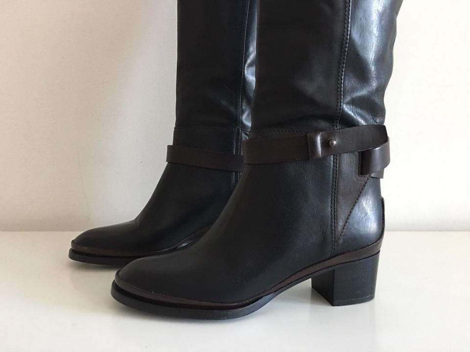 Boots Black Booties Vince Black Knee Brown on Brown Pull wvwU0xqE8