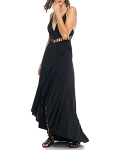 Free People Cutouts Half Lined Plunging V Neck Sweeping Ruffle Mermaid Silhouette Dress