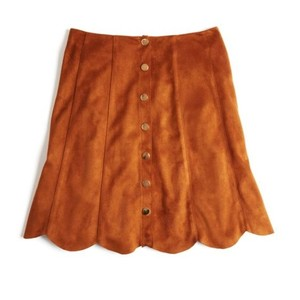 Lucy Paris 70s Faux Suede Cognac Tan A Line Mini Skirt Brown