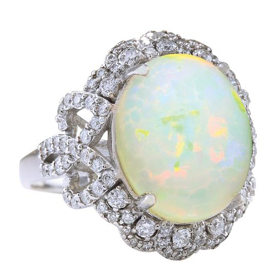 Fashion Strada 7.24 Carat Natural Opal 14K White Gold Diamond Ring