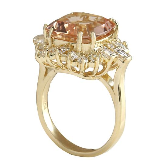 Fashion Strada 7.23 Carat Natural Morganite 14K Yellow Gold Diamond Ring