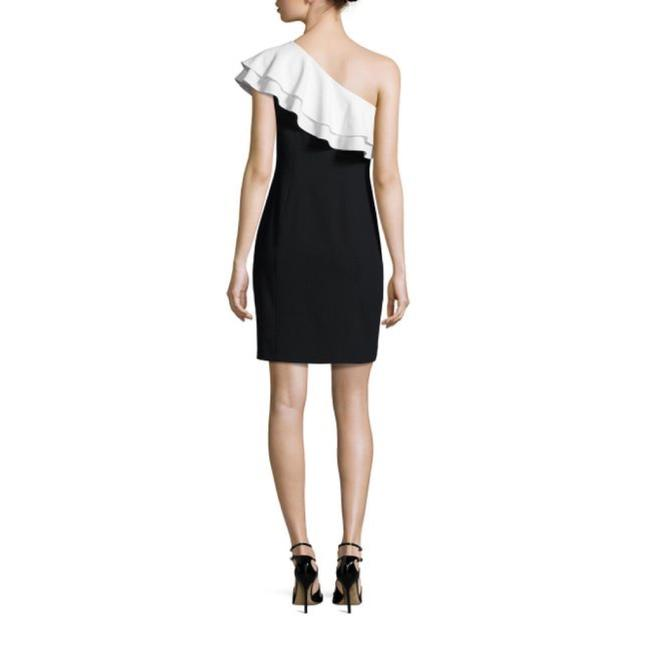 Aidan Mattox Black And White Size Xs Color-blocking One Shoulder Dress