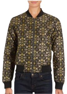 Romeo & Juliet Couture Embroidered Brocade Jacquard Varsity Gold Black Jacket